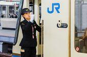 Japane Femal train driver in Kobe