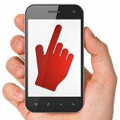 Social media concept: Mouse Cursor on smartphone