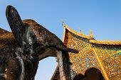 Elephant Statue in front of Wat Chiang Man, Chiang Mai, northern Thailand