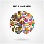 stock photo of left brain  - Creative left brain and right brain Idea concept background vector illustration - JPG