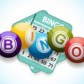 Bingo Balls And Card On A White Background