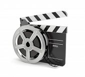 picture of clapper board  - 3d render of clapper board with film reel isolated on white background - JPG