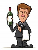 Waiter Illustration With Wine Bottle