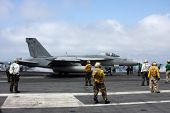 F-18 Fighter Jet Launching From The Uss George Washington