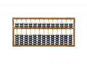 foto of subtraction  - Old wooden abacus isolated on white background - JPG