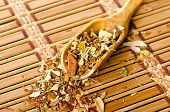 Wooden spoon with leaves of herbal tea