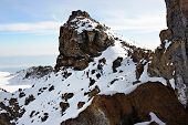 stock photo of kilimanjaro  - Summit of the Kilimanjaro mountain at early morning time Tanzania - JPG