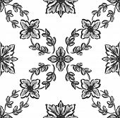 Classical Black Flower Graphic For Unlimited Repeat To Larger Pattern