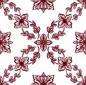 Classical Red Flower Graphic For Unlimited Repeat To Larger Pattern
