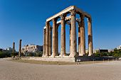 picture of olympian  - The Temple of Olympian Zeus also known as the Olympieion or Columns of the Olympian Zeus is a colossal ruined temple in the centre of Athens with Acropolis on the background Greece - JPG