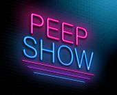 image of pornographic  - Illustration depicting an illuminated neon sign with a peep show concept - JPG