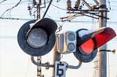 picture of traffic signal  - Railway traffic banning traffic on road crossing - JPG