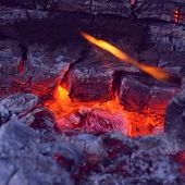 Closeup Of Very Hot Firewood Transformed In Embers