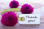 foto of congratulation  - Label with Thank You and Purple Flowers and Green Ribbon
