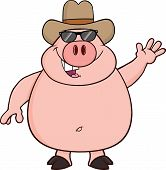 Happy Pig Cartoon Character With Sunglasses And Cowboy Hat Waving