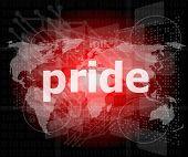 The Word Pride On Business Digital Screen
