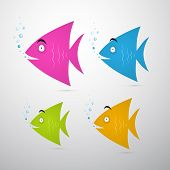 Colorful Fish Set Illustration
