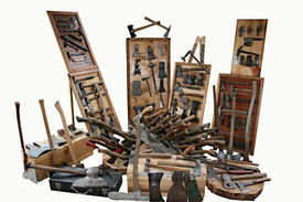 image of yesteryear  - Antique tools from yesteryear on a white background - JPG