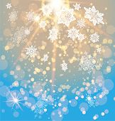 Snowy festive background with light and snowflakes