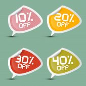 Vector Ten - Twenty, Thirty and Forty Percent Off Discount Stickers - Labels