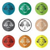 Vector Group Of Monkey Face In The Circle