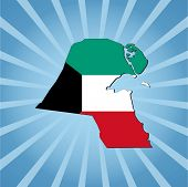 stock photo of kuwait  - Kuwait map flag on blue sunburst vector illustration - JPG