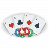 Poker Chips And Playing Cards, Vector Illustration