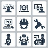 stock photo of heavy equipment operator  - Engineering vector isolated icons set  over white - JPG