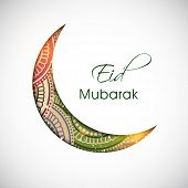 Beautiful floral decorated crescent moon on grey background for Muslim community festival Eid Mubara