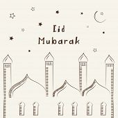 Stylish mosque design on stars decorated beige background for Muslim community festival Eid Mubarak