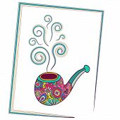 Tobacco pipe for smoking. Smoke swirls over tube. Vector illustration of a cartoon style. Bright col