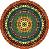 Circle Consisting Of Small Simple Graphic Shapes. Summer Background In Ethnic Style.