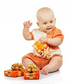 Happiness baby with colorful gifts