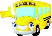 Cartoon school bus waving