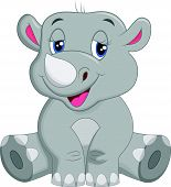 stock photo of rhino  - Vector illustration of happy rhino cartoon sitting - JPG