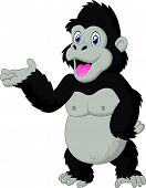 image of gorilla  - Vector illustration of gorilla cartoon presenting isolated on white - JPG