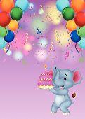 Elephant cartoon holding birthday cake
