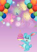 Cute rabbit cartoon holding birthday cake