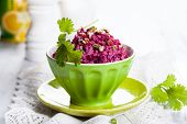 Beet salad with nut and dressing