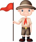 Cartoon boy scout holding red flag