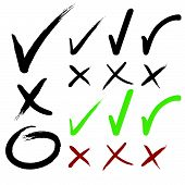 picture of positive negative  - Hand drawn Check mark buttons - JPG