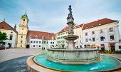 BRATISLAVA, SLOVAKIA - MAY 14: Main City Square in Old Town on May 14, 2014 in Bratislava, Slovakia. Populated by 500,000 people, the capital is the largest city in Slovakia.