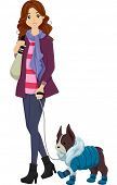 Illustration of a Woman in Winter Clothes Taking Her Similarly Dressed Dog for a Walk