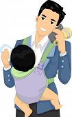 Illustration of a Father Talking on the Phone While Taking Care of His Baby