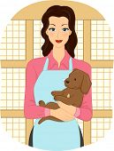 Illustration Featuring a Female Pet Shop Attendant Cradling a Puppy