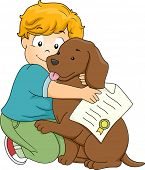 Illustration of a Boy Hugging His Pet Dog After He Has Been Officially Adopted