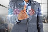 Businessman touching the words product promotion on interface against room with large window showing