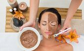 Peaceful brunette getting a mud facial applied in the health spa