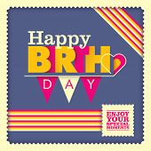 Birthday card design with typography. Vector illustration.