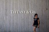 SANTA MONICA, CALIFORNIA - TUES. JUNE 24, 2014: A woman walks past a Tiffany & Co. jewelry store in